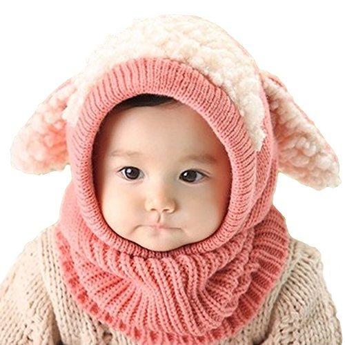 Winter Warm Boys Wool Acrylic Hat/Scarf Set Cute Knitted Hat Scarf Pink Cute Dog Dog Hat Set