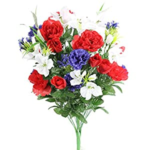 Admired By Nature ABN1B001-RD/WT/BL 40 Stems Artificial Full Blooming Lily, Rose Bud, Carnation and Mum with Greenery Mixed Flower Bush, Red/White/Blue, RD/WT/BL 102