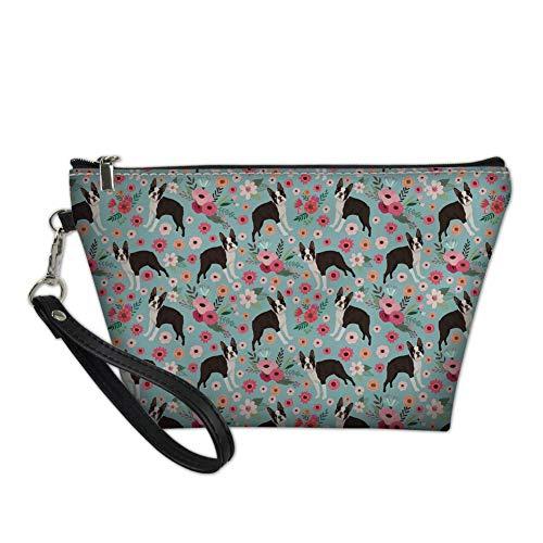 NDISTIN Women Makeup Bag Boston Terrier Flower Cosmetic Case Toiletry Kit Storage Bag for Ladies Washroom Waterproof