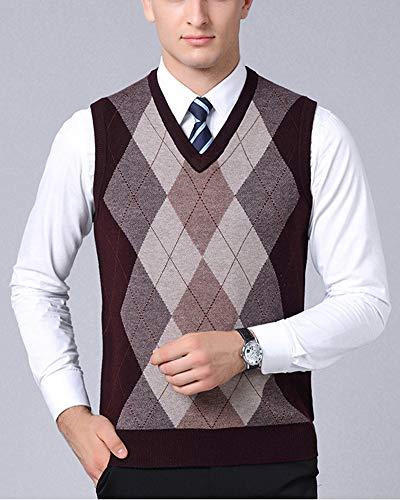 Gilet Classique En Losange Rouge Motif Pulls Gilets Tricot Affaires Homme Sans Manches Tricoté Gentleman T8Ir8q
