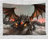 40 inch dragon wall fan - Ambesonne Fantasy World Decor Tapestry, Illustration of Three Headed Fire Breathing Dragon Large Monster Gothic Theme, Wall Hanging for Bedroom Living Room Dorm, 60 W X 40 L Inches, Brown and Grey