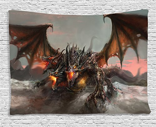 Ambesonne Fantasy World Tapestry, Illustration of Three Headed Fire Breathing Dragon Large Monster Gothic Theme, Wall Hanging for Bedroom Living Room Dorm, 80 W X 60 L Inches, Brown Grey