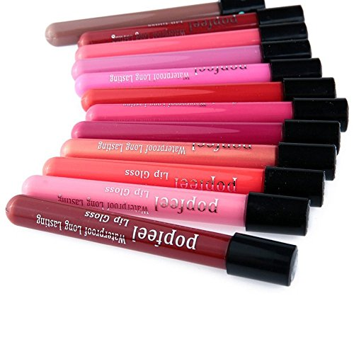 LUNIWEI Lip Gloss Lipstick Matte Velvet Waterproof Super Long Lasting Not Fade (12 PCS/Set)