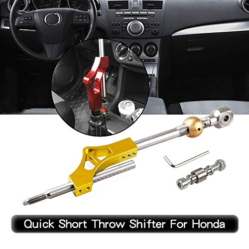 RYANSTAR Adjustable Short Shift Extension Shifter Knob with Adapters for Honda Civic Integra CRX ()