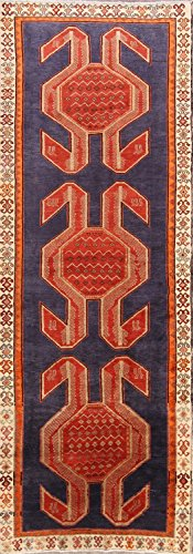 Rug Source One-of-A-Kind Meshkin Tribal Hand-Knotted 4x13 Blue Wool Persian Oriental Runner Rug (12' 7