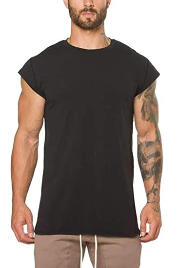1caaabb63 Vemubapis Mens Cap Sleeve Fitness Cotton T-Shirt Slim Fit Sweatshirts Black  M