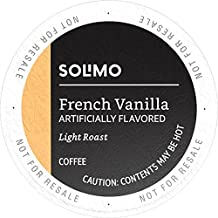 Amazon Brand - 100 Ct. Solimo Light Roast Coffee K-Cup Pods, French Vanilla Flavored, Compatible with 2.0 K-Cup Brewers