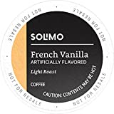 Amazon Brand - 100 Ct. Solimo Light Roast Coffee Pods, French Vanilla Flavored, Compatible with 2.0 K-Cup Brewers