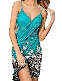 Simplicity - Vestido de Playa sin Espalda con Tirantes de Espagueti para Mujer, sin Espalda