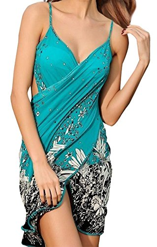 Simplicity Women's Floral Print Beach Sarong Bath Cover-up Swimwear Pareo Wrap Turquoise