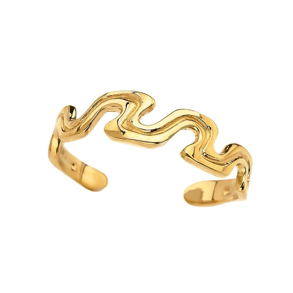 Elegant 14k Yellow Gold Open Wavy Design Toe Ring