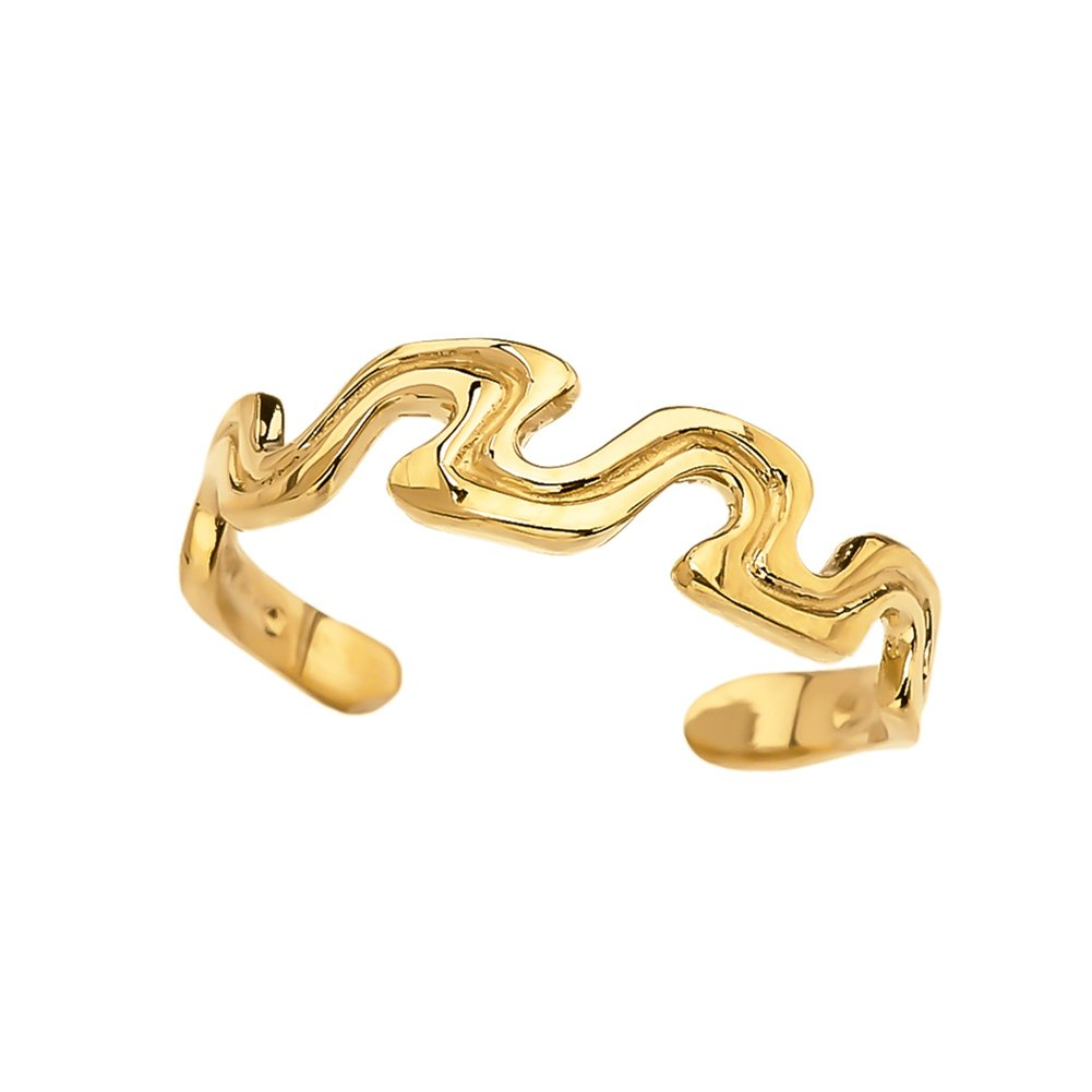 Elegant 10k Yellow Gold Open Wavy Design Toe Ring