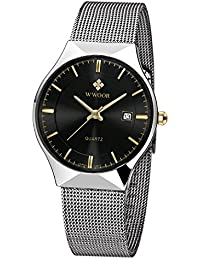 Mens Elite Sport Quartz Watch Male Silver-Tone Ultrathin Stainless Steel Mesh Band Watch With