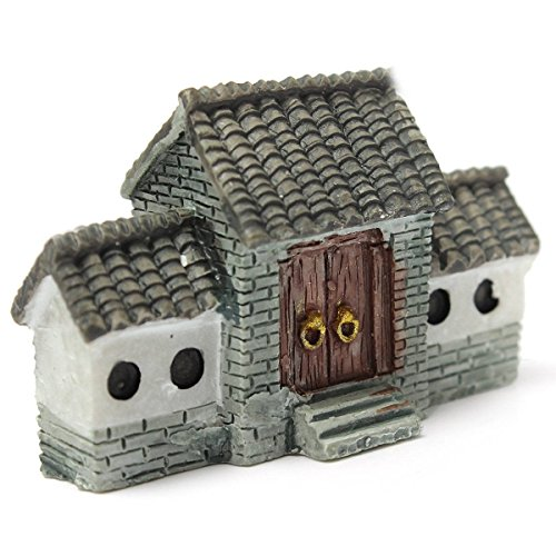 SODIAL(R)Miniature Villa House Dollhouse Potted Flower Plant Craft DIY Ornament Bonsai Decor Chinese Ancient City Gate Gray