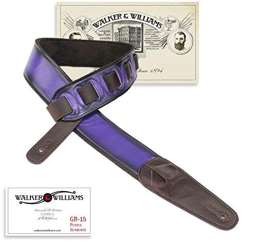 Walker & Williams GR-15 Purple Sunburst Guitar Strap with Pick Pockets & Padded Velour Back ()