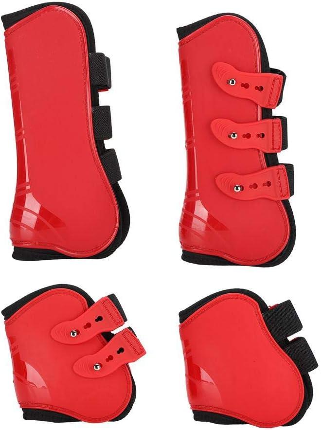 FILFEEL Horse Leg Guard, un Conjunto de Botas Delanteras para Las Patas traseras Protector de la Pierna Ajustable Protector Equipo para Montar a Caballo(L-Rojo)