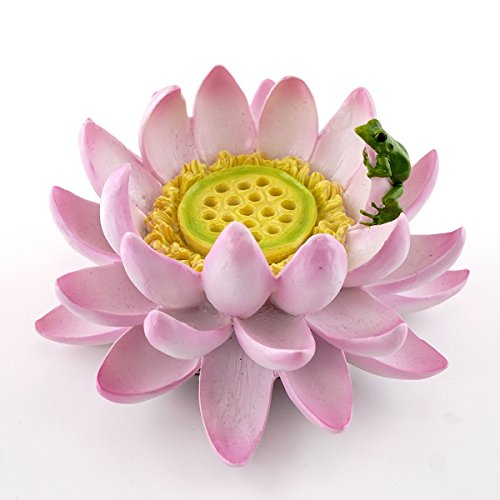 Top Collection Lotus Flower with Frog Incense & Candle Holder, 4.25