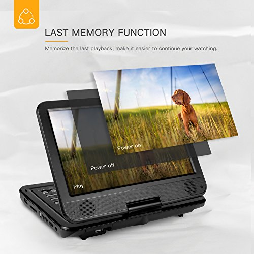 APEMAN 10.5'' Portable DVD Player with Swivel Screen Remote Control Support SD Card USB DVD AV in/Out Earphone Speaker 5 Hours Built-in Rechargeable Battery for TV Kids Car Travel Companion by APEMAN (Image #4)