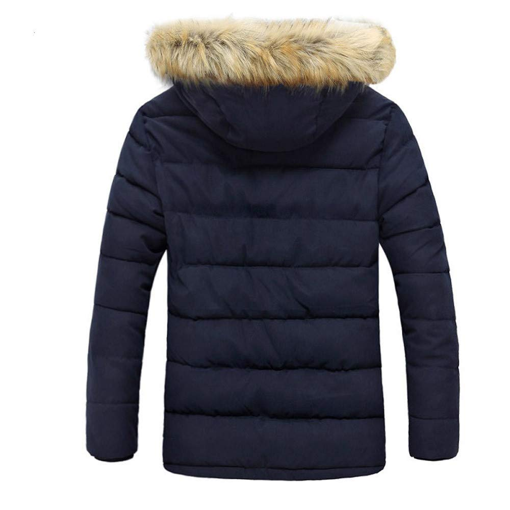 Allywit Men's Winter Thicken Coat Quilted Puffer Jacket with Removable Hood Oversize by Allywit (Image #2)