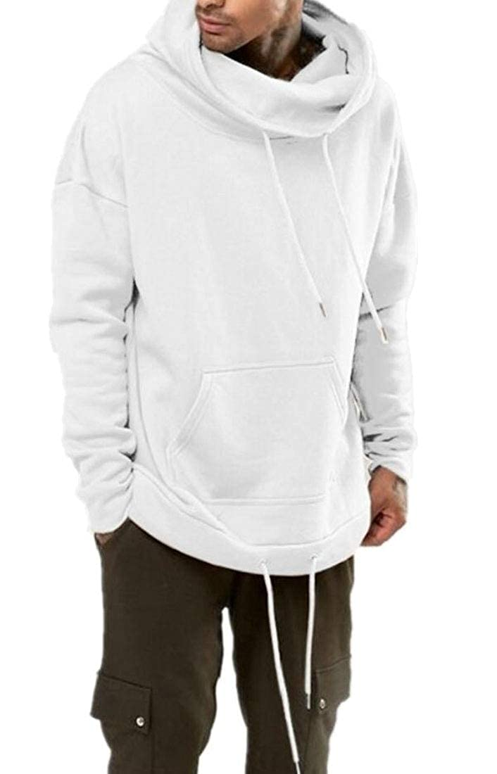 YIhujiuben Mens Hip-Hop Hipster Loose Fit Hoodies Solid Color Pullover Sweatshirts