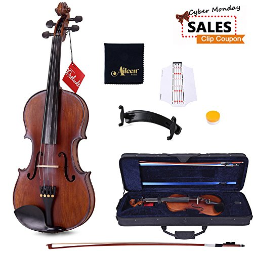 [CYBER MONDAY COUPON] Aileen Violin with D'Addario Strings, Case, Rosin, Shoulder Rest, Cleaning Cloth and Finger Sticker by Aileen