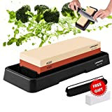 Knife Sharpening Stone, Whetstone Dual Sided 1000/6000 Grit Waterstone with Angle Guide Non Slip Rubber Base Holder, Knife Sharpeners Tool Kit for Kitchen Hunting Camping Hiking Tactical Pocket Travel