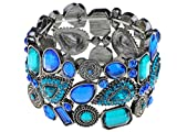 Alilang Antique Silvery Tone Blue Rhinestones Adjustable Stretch Cuff Bangle Bracelet