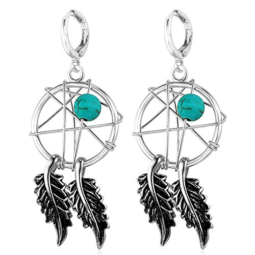 U7 Women Earrings Platinum Plated Turquoise Decorate Native American Indian Style Magic Webs Dream Catcher Dangle Earrings