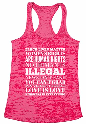 Awkward Styles Women's Kindness is Everything Burnout Racerback Tank Tops Love, Peace & Equality Burnout Racerback Tank Tops Hotpink L