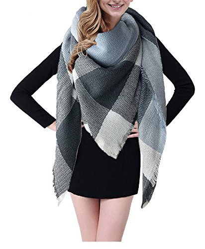 BEINY Soft Cozy Plaid Scarf Gorgeous Triangle Blanket Scarf Wrap Shawl for Women (Light Blue/Grey) ()