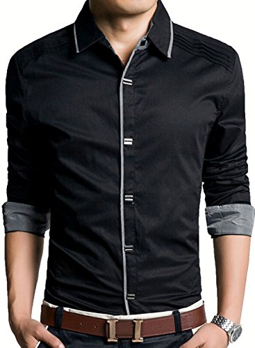 増幅する練る地下室(アザブロ) AZBRO メンズ 長袖ワイシャツ 綿高率 ゴージャス 純色 長袖 ボタンアップ シャツ豊富な5サイズ