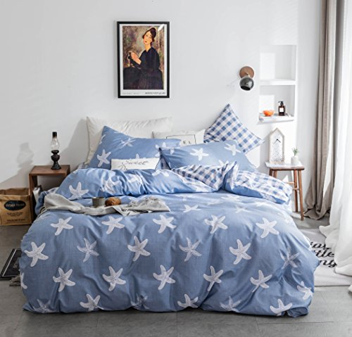 4-piece Duvet Cover Queen,100% Cotton Reversible White Starfish Printing Squared Design Duvet Cover Set ,Ultra Soft and Skin-friendly,Fashion Simple Style Bedding Set for Adults Boys Girls Light Blue by Dasyfly