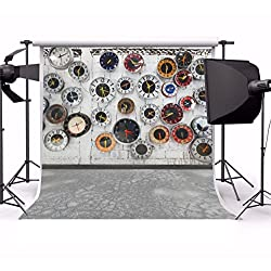 Laeacco 6x6ft Vinyl Backdrop Photography Background New Year Coming Clocks Wall Vintage Wall Floor Scene Country Style Background Grunge Abstract Texture Children Portraits TV Video Shooting Photo