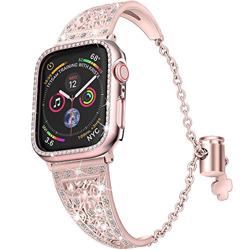 (jwacct Compatible for Apple Watch Band with Screen Protector 38mm 40mm iwatch Series 4/3/2/1, Women Adjustable Stainless Steel Bracelet Bangle Jewelry with Rhinestone Crystal Case,Rose Gold)