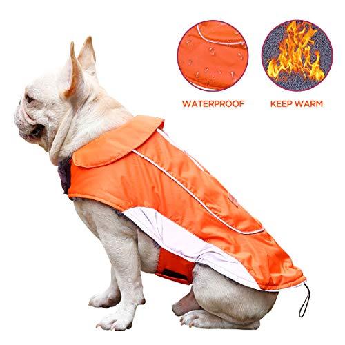 Dog Waterproof Jacket Dog Climate Changer Vest Snowsuit with Reflective Strips for Small Medium Large Breeds (Orange XL)