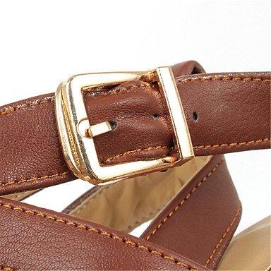 LvYuan Mujer-Tacón Stiletto-Gladiador Zapatos del club-Sandalias-Vestido Fiesta y Noche-Purpurina Materiales Personalizados Semicuero-Negro Brown