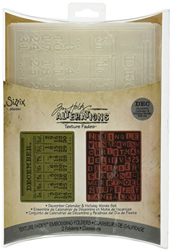 Sizzix 656941 Texture Fades Embossing Folders, December Calendar & Holiday Words Set by Tim Holtz, Pack of 2, Multicolor (Word Embossing Folder)