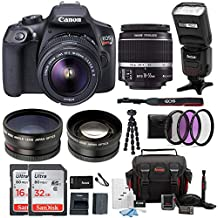 Canon EOS Rebel T6 Cámara réflex digital de 18.0 Mp W/EF-S 18 – 55 mm IS II + EF 75 – 300 mm III de lentes + Canon Gadget Bag & Tarjeta de 32 GB SD Bundle