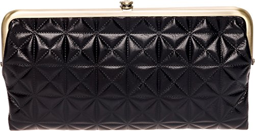 HOBO Womens Leather Vintage Lauren Quilted Embossed Clutch Purse (Black)