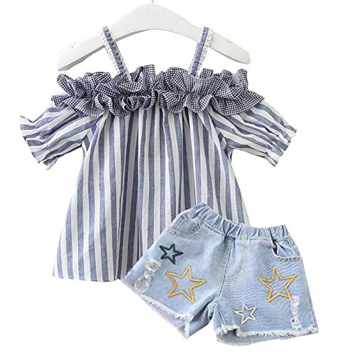Baby Girl Shorts Outfit Sets Striped Off Shoulder Tops Jeans Pant Summer Clothes 2Pcs