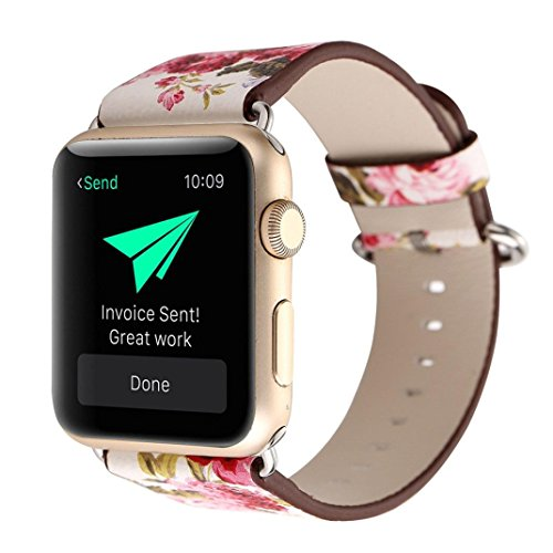 Flower Fashion Watch (Iwatch band, Lotus.flower Peony Ink painting Leather Band Bracelet Wristwatch Strap For Apple Watch Series 1/2 (38mm, A))