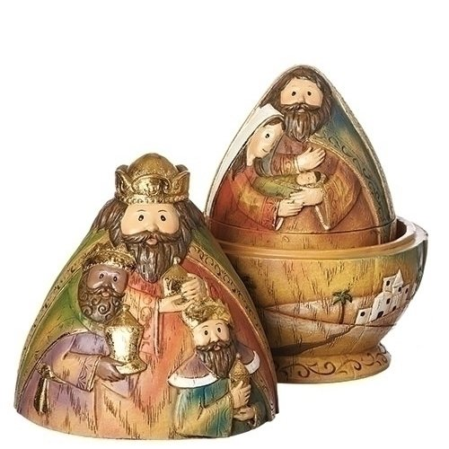Nativity Scene Goldtone 6 Inch Resin Dolomite Nesting Tabletop Figurines 3 Piece Set