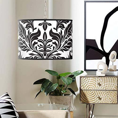 Swag Style Black Tapestry Shade Plug-in Chandelier - Giclee Gallery