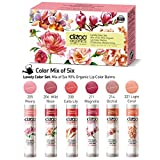 Lovely Set (6 pack). Mix of Six Organic Lip Colour Balms. 90% organic ingredients. Protective, Moisturizing (USDA certified ingredients)
