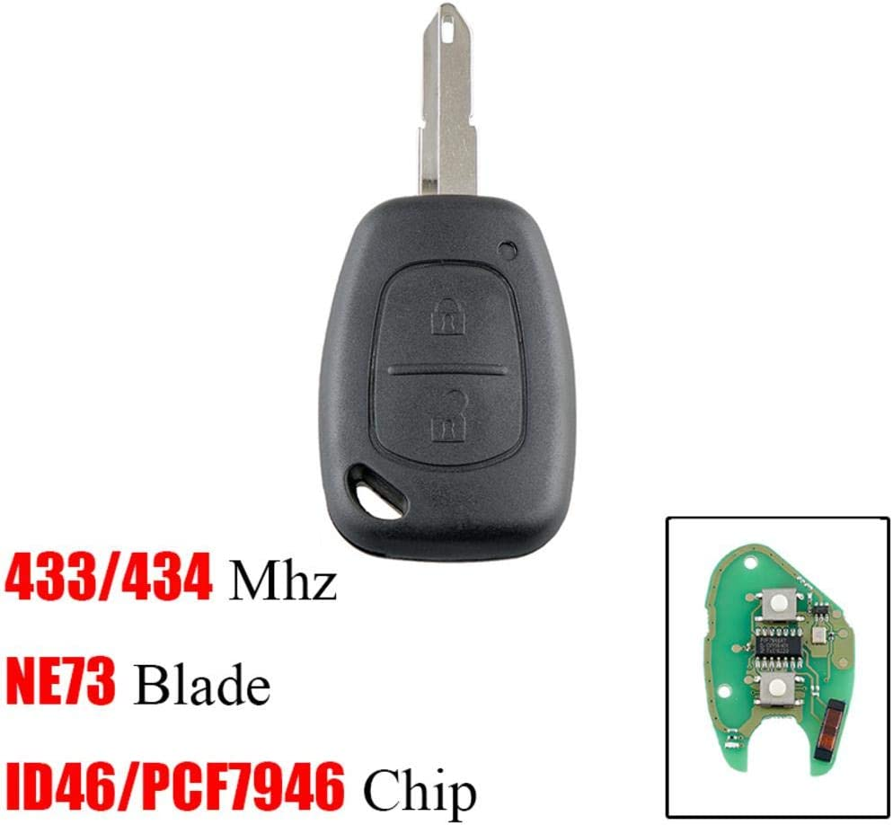 2 Buttons 433Mhz New Remote Car Key 2 Buttons Key Fob Remote for Renault PCF7946Car Key