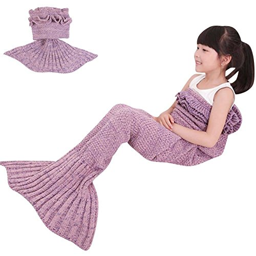 ONEPACK Mermaid Tail Crochet Blanket,Handmade Mermaid Blanket for child,Super Soft Comfortable Suitable for All Seasons Sleeping Reading Watching Work…