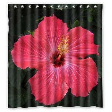 Popular Bath Hibiscus Bathroom Shower Curtain (66  x 72  )