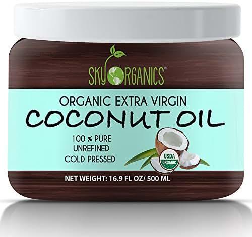 Organic Extra Virgin Coconut Oil by Sky Organics 16.9 oz- USDA Organic Coconut Oil, Cold-Pressed, Kosher, Cruelty-Free, Color Corrector, Unrefined- Skin Moisturizer, Hair Treatment & Baking