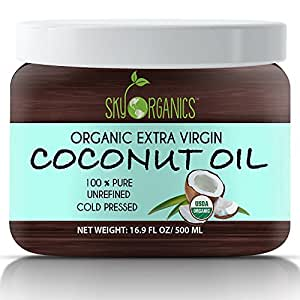 Organic Extra Virgin Coconut Oil by Sky Organics 16.9 oz- USDA Organic Coconut Oil, Cold-Pressed, Kosher, Cruelty-Free, Hair Color Corrector, Unrefined- Skin Moisturizer, Hair Treatment & Baking