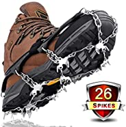 Leolee Upgraded 26 Teeth Crampons Ice Cleats Ice Grips, Walk Traction Snow Spikes Anti-Slip Stainless Steel Sp
